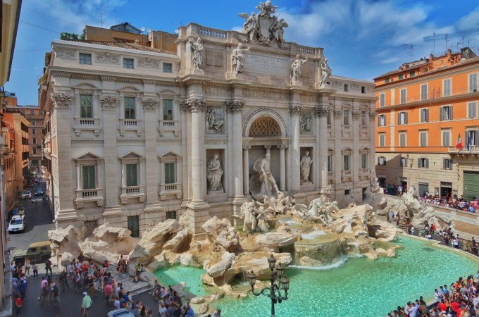 This Trevi Fountain view from above is dazzling! It's been recently restored and revamped and is a must-see in Rome!