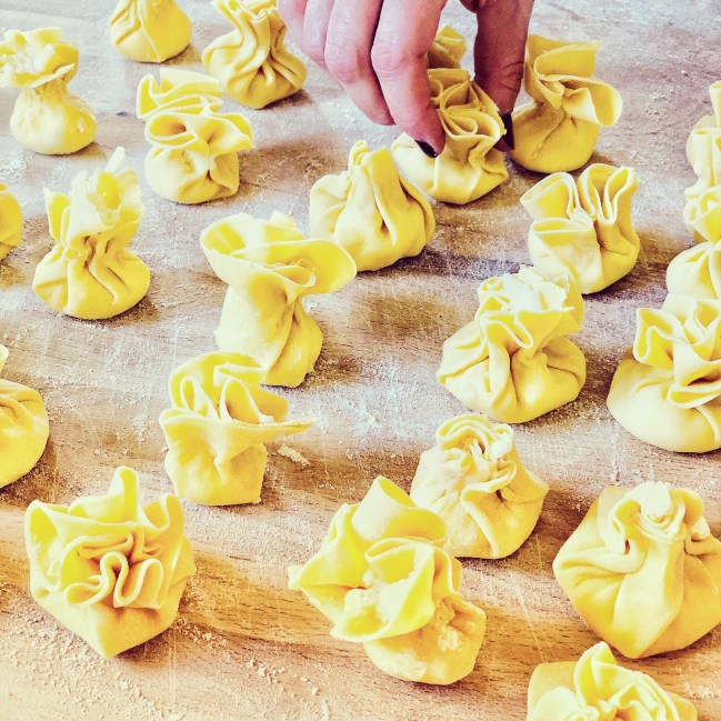 Ricotta and pear filled pasta sacks are fun and easy to make, plus they freeze well!