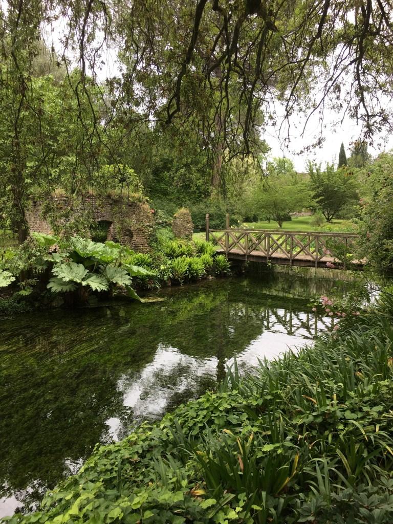 Wooden foot bridge Ninfa Gardens