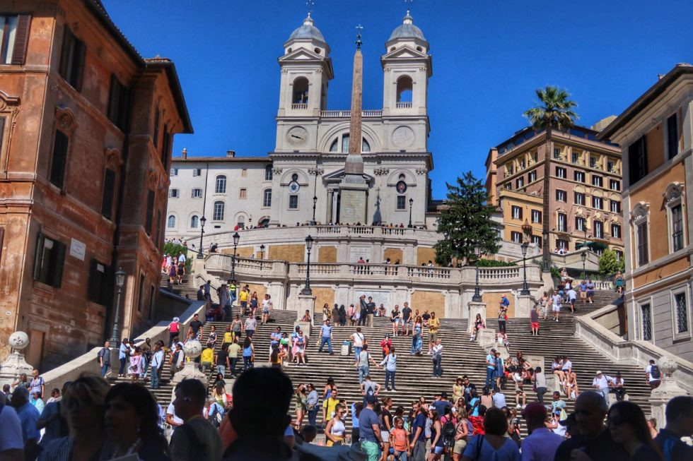 The Spanish Steps are packed all hours of the day.