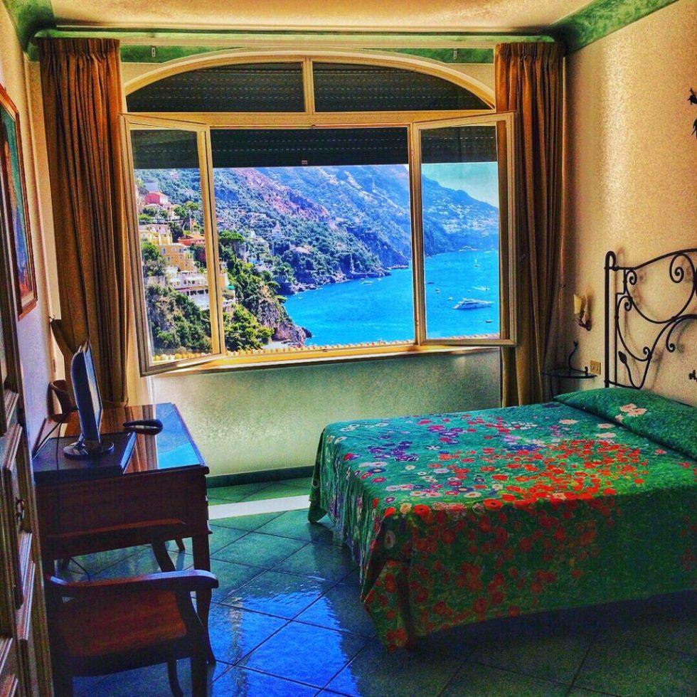 Window view of Positano from Casa Cosenza