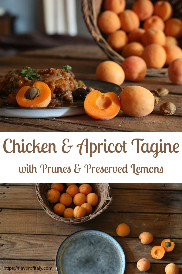 Luscious Chicken & Apricot Tagine with Prunes and Preserved Lemons...a delicious way to use fresh, summer apricots
