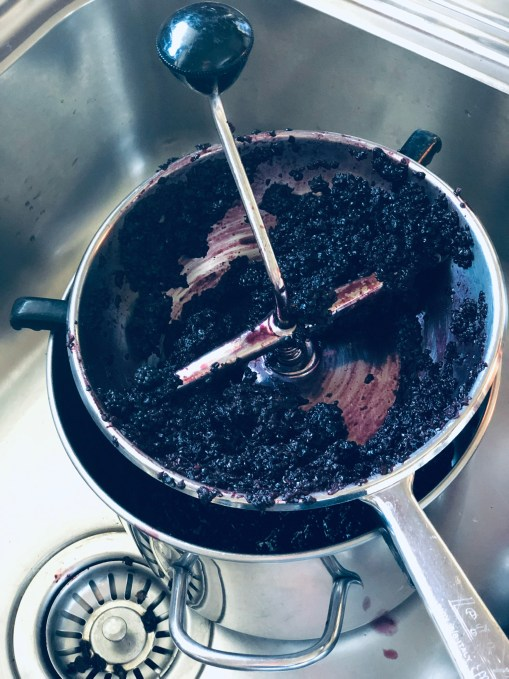 Passing blackberries through a food mill to make blackberry jam