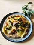 When fall rolls around it's time to make dishes that bring together some of the season's best ingredients like these Radicchio Ravioli with Chestnut Cream, Sizzled Pork Jowl and Fried Sage