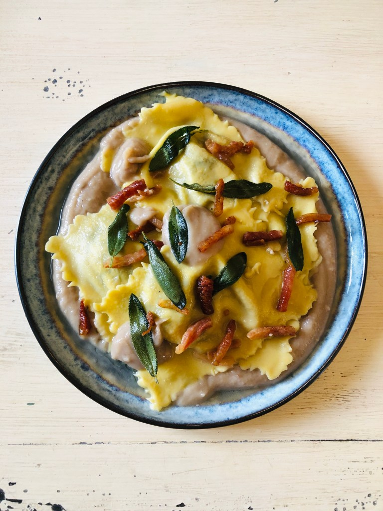 Radicchio Ravioli with Chestnut Cream, Sizzled Pork Jowl and Fried Sage