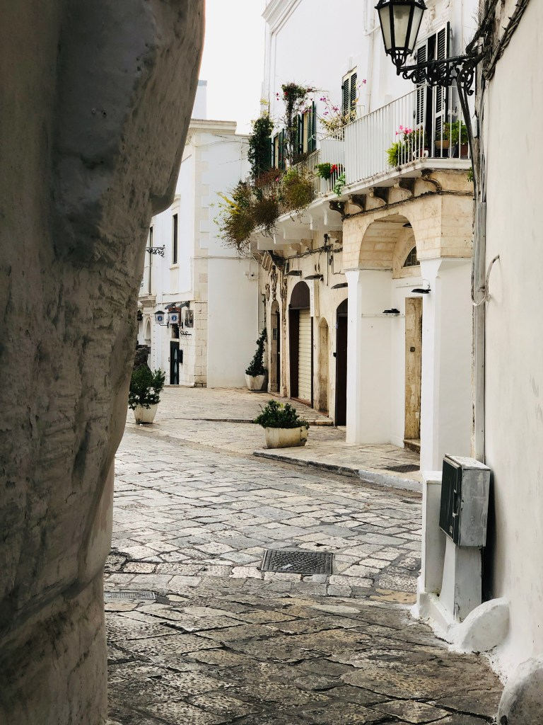 Winding streets in Ostuni, Puglia, known as the White City