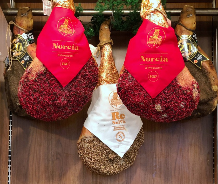 Christmas prosciutto for sale during the holidays
