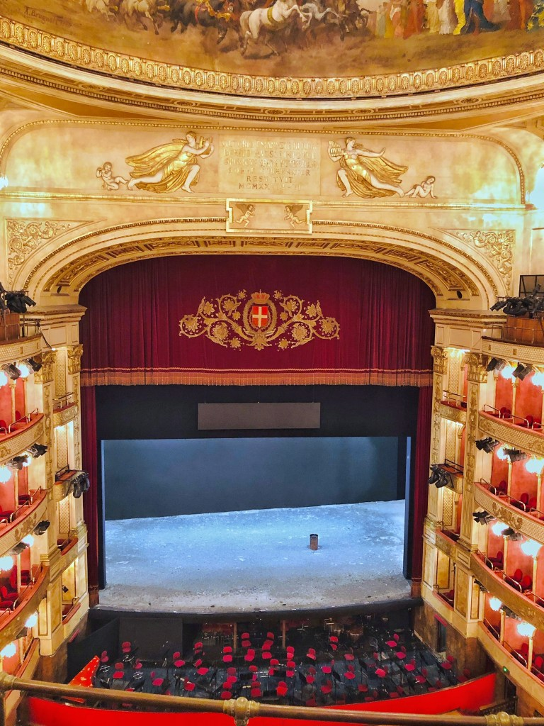 The Opera House stage is on a slight incline so that viewers can see every detail including the feet of the dancers and performers