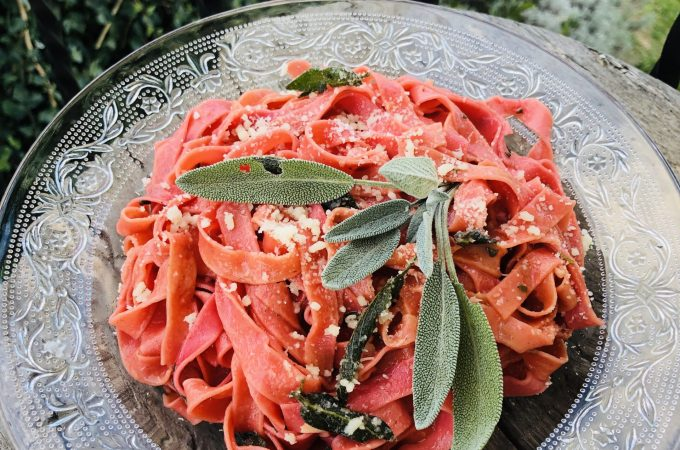 Beetroot Fettuccine with Butter and Sage