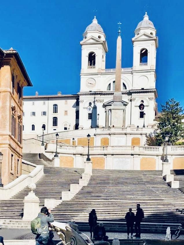 Deserted Spanish Steps in Rome during lockdown