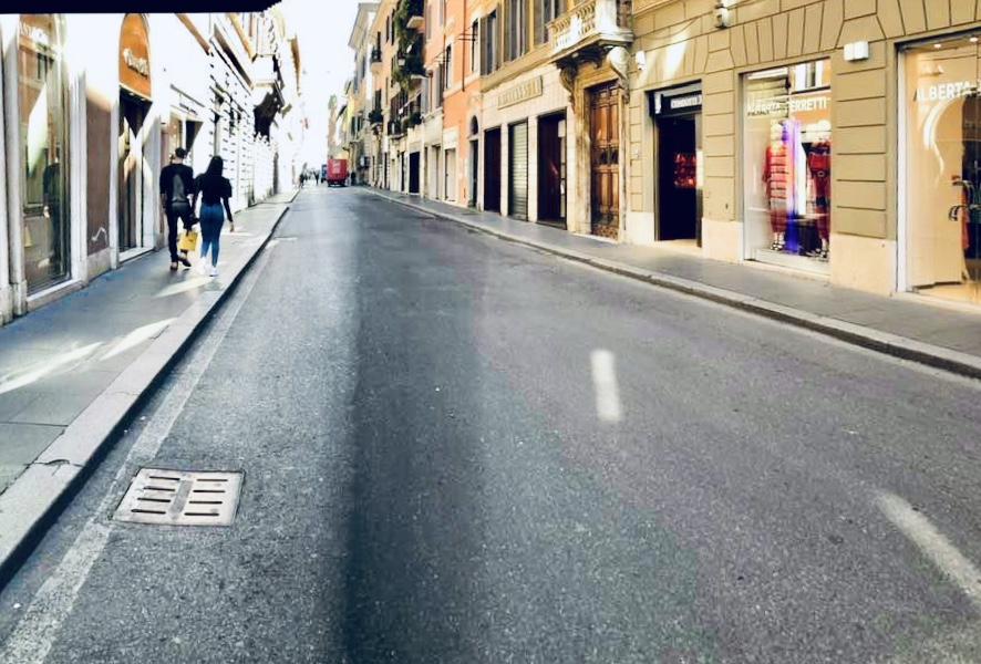 The empty streets of central Rome