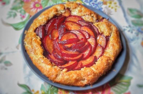 Freshly baked plum tart