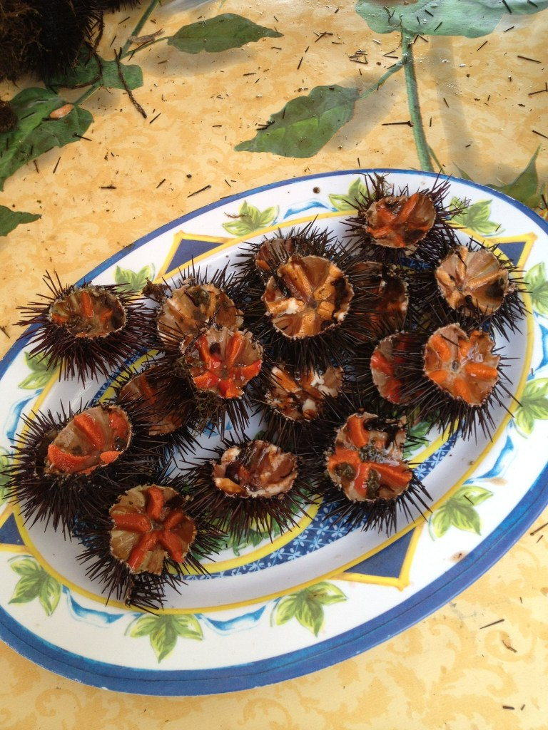 At a Sicilian market near Palermo sea urchins are cleaned and eaten on the spot