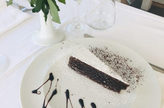 Delicious dark chocolate gluten-free almond flour cake (Torta Caprese) from the Island of Capri
