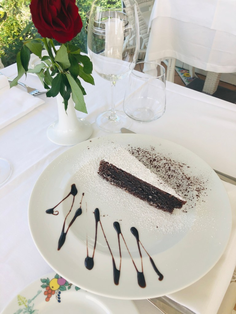 Delicious dark chocolate gluten-free almond flour cake (Torta Caprese) from the Island of Capri