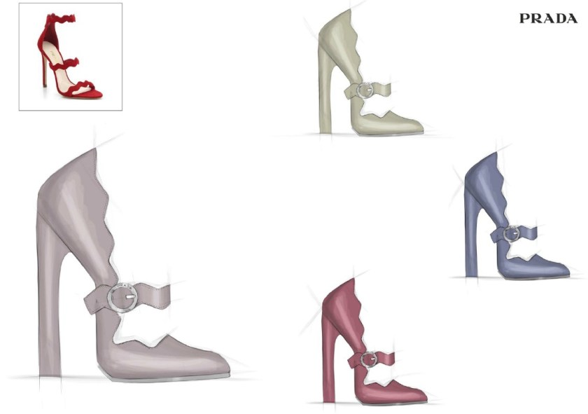 Luxury Italian shoe designs for Prada, by Alessio Spinelli