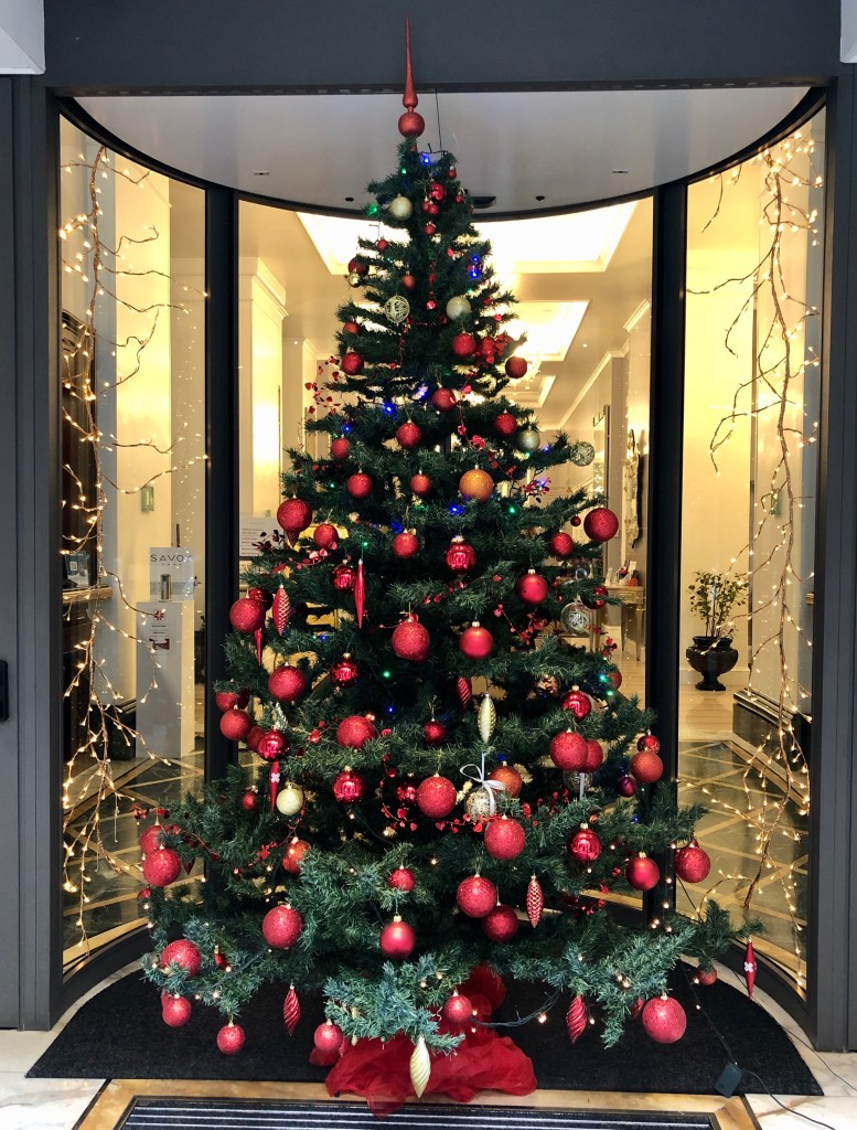 The Hotel Savoy is closed now but still has a beautiful Christmas tree at its entrance