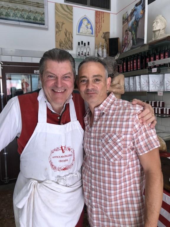 Andrew Cotto with renowned Tuscan butcher, Dario Cecchini