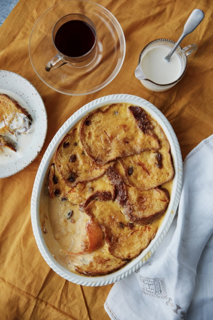Saffron Custard and Panettone Pudding from Letitia Ann Clark's cookbook, Bitter Honey