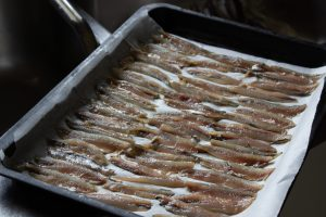 Fresh anchovies ready to bake