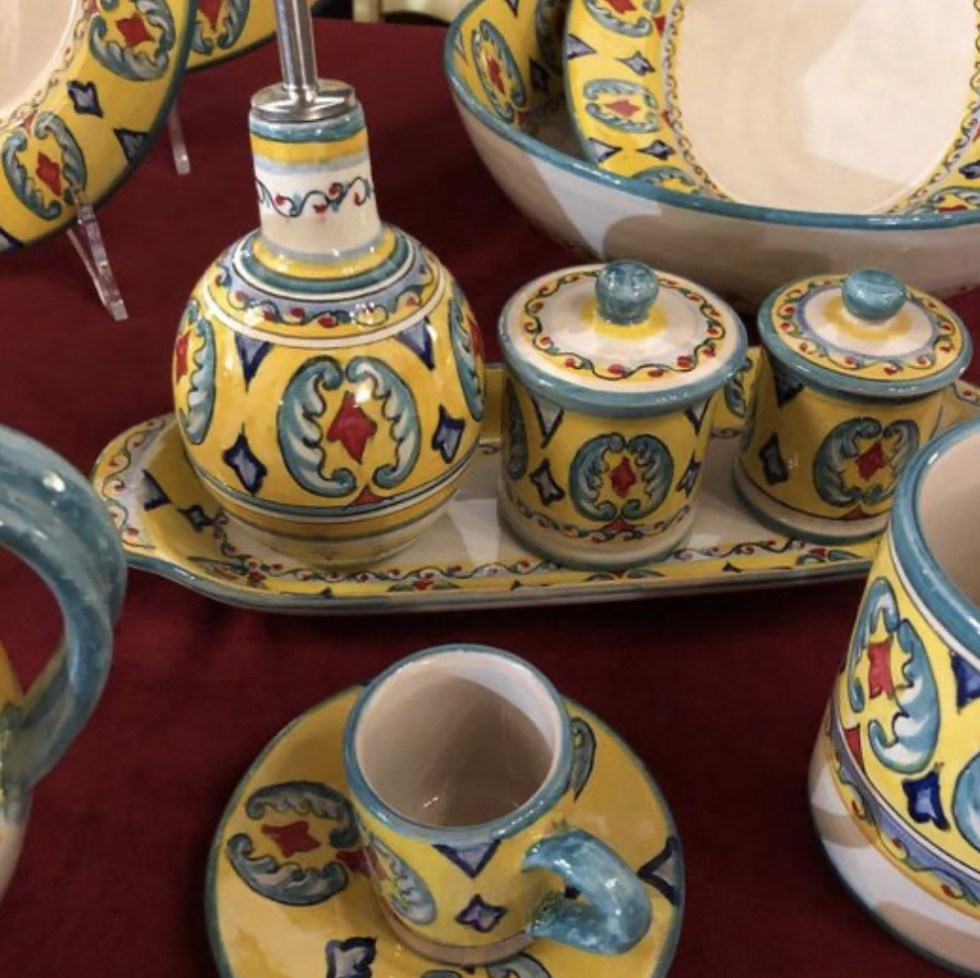 some of the ceramics and pottery you can buy at Giovanni's Deruta shop