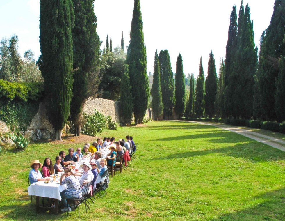 wonderful communal meals at Spannocchia in Tuscany
