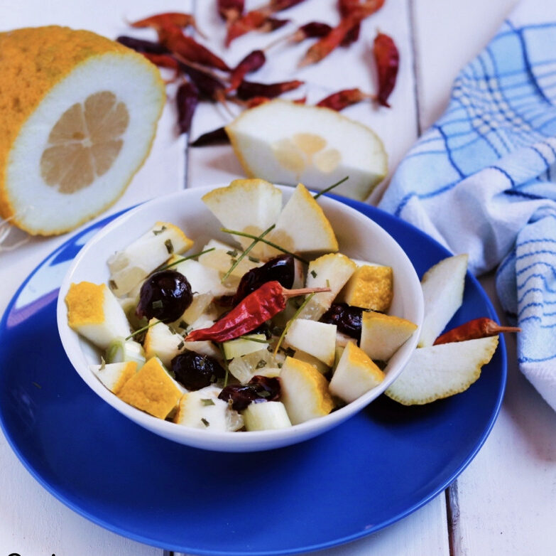 A delicious citron salad, made with aromatic Calabrian citrons from Diamante