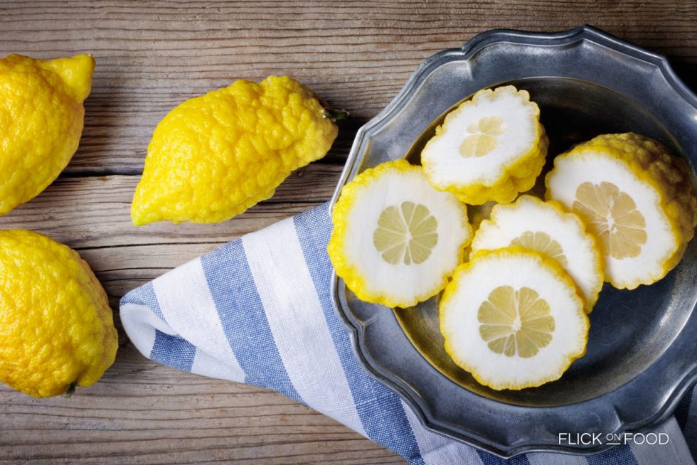 Sliced citrons (an ancient citrus fruit) with a thick, aromatic peel pulp used to make the candied fruit.