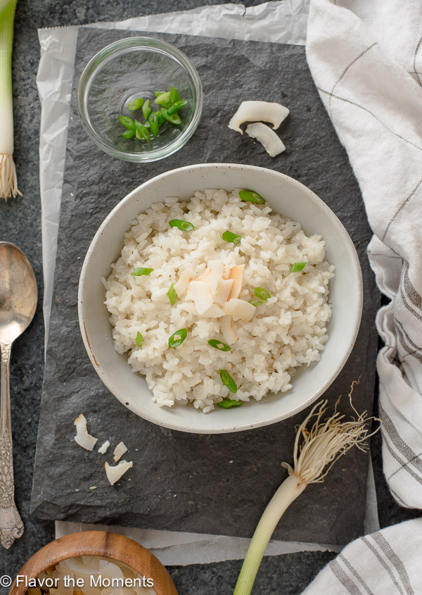 coconut rice in white bowl overhead shot