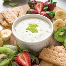 Fresh Key Lime Greek Yogurt Dip is a creamy Greek yogurt dip bursting with fresh key lime flavor. It's a wholesome appetizer or snack!