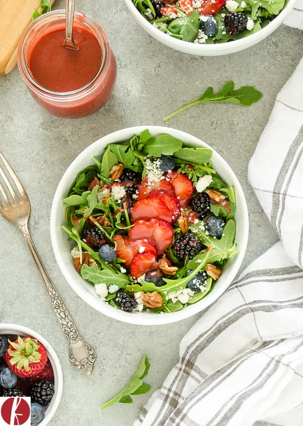 Summer Berry Arugula Salad is sweet, savory, and full of summer flavor. It's a salad you'll be excited to eat! @FlavortheMoment