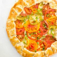 Tomato galette with heirloom tomatoes