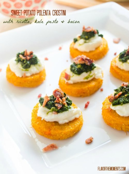 sweet-potato-polenta-crostini-with-ricotta-kale-pesto-and-bacon1 | flavorthemoments.com
