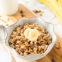 Banana chocolate chip granola in a bowl