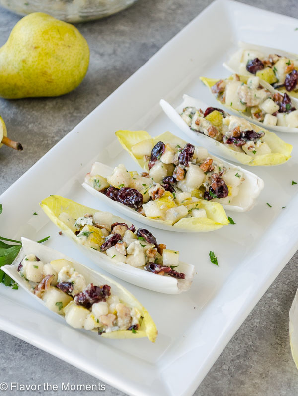 Endive Salad Bites with Pears, Blue Cheese, and Pecans are an easy, yet elegant appetizer that's perfect for holiday entertaining! {GF, Vegetarian} @FlavortheMoment