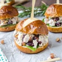 Sonoma chicken salad sliders on pretzel buns