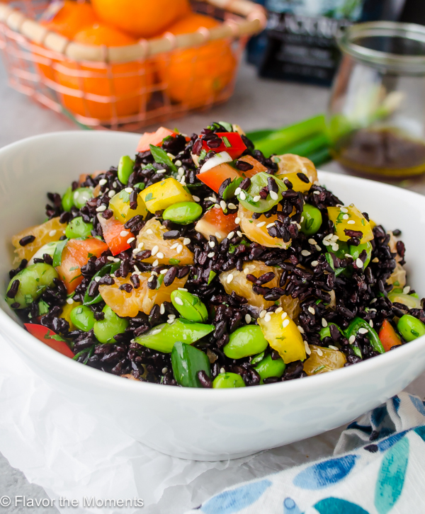 Asian Black Rice Salad with Ginger Orange Dressing is an exotic black rice salad that's packed with flavor and is the perfect healthy lunch or side dish! @FlavortheMoment