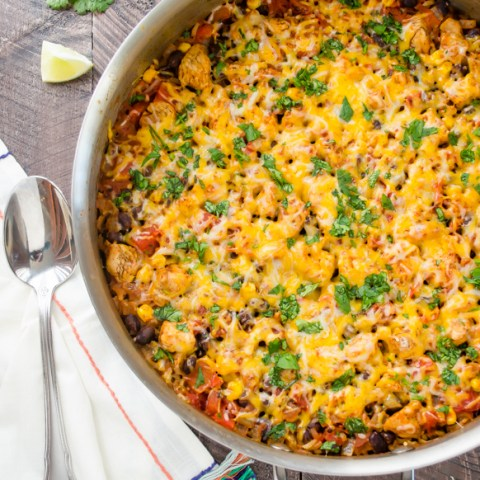 overhead view of mexican rice casserole