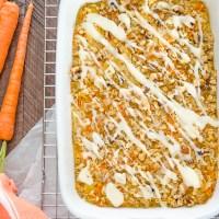carrot cake baked oatmeal in white baking dish
