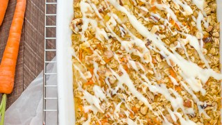 Carrot Cake Baked Oatmeal with Cream Cheese Glaze