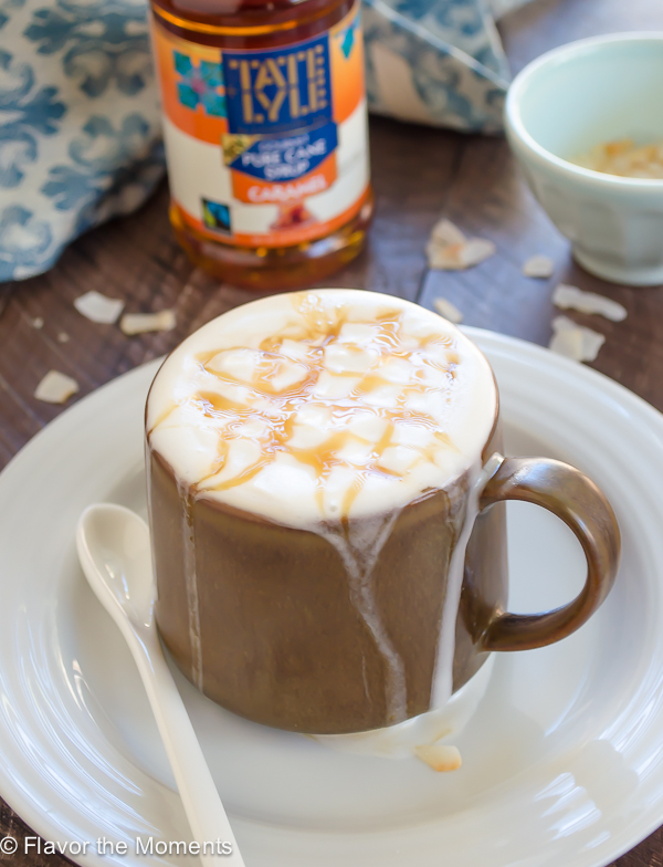Coconut Caramel Macchiato is an easy, homemade vegan coffee drink with espresso, creamy coconut milk, and silky caramel syrup. It's a great way to elevate your normal coffee routine! @FlavortheMoment