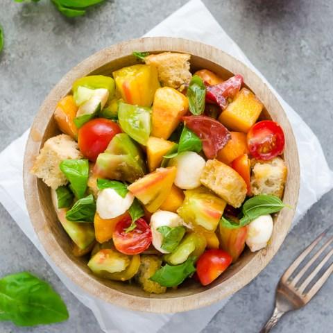 Heirloom Tomato and Peach Caprese Panzanella Salad