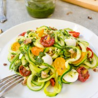 Pesto Zoodles with Tomatoes and Mozzarella