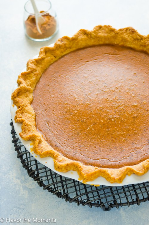Chai Spiced Pumpkin Pie is an easy classic pumpkin pie with the warm spices of chai. It's an exciting twist on pumpkin pie that makes it even more delicious! @FlavortheMoment