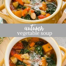 autumn vegetable soup collage