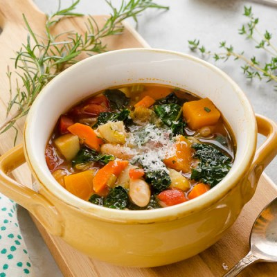 front view of autumn vegetable soup