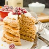 Fluffy Cranberry Orange Eggnog Pancakes