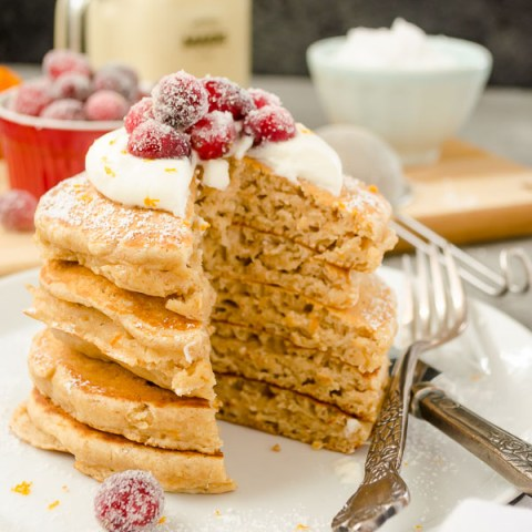 Fluffy Cranberry Orange Eggnog Pancakes