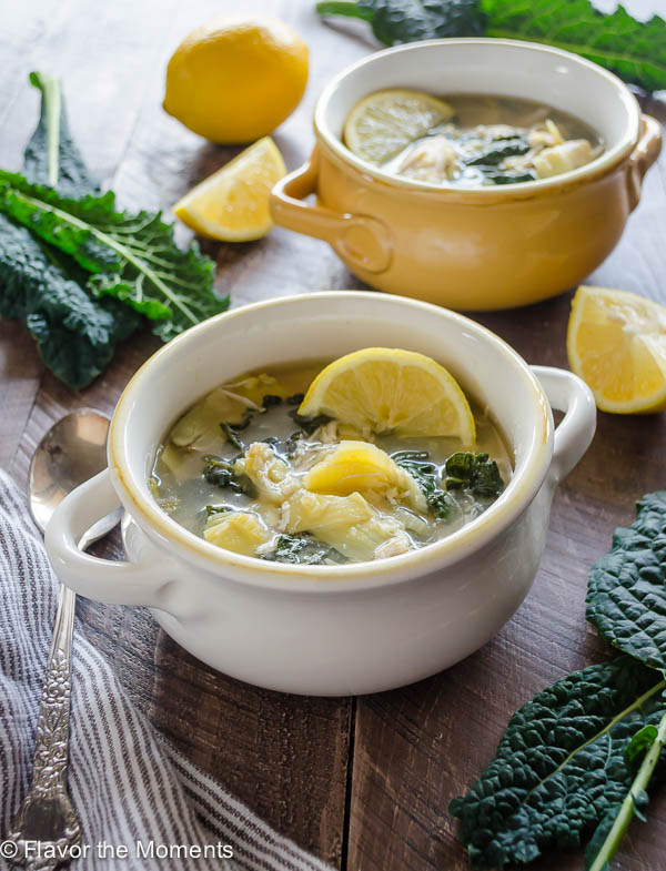Slow Cooker Lemon Chicken Artichoke Soup is a healthy, satisfying dump 'n go soup that's full of fresh lemon flavor! This is clean eating at it's best and easiest. @FlavortheMoment