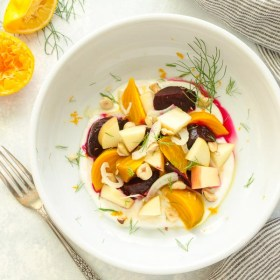 Beet and Apple Salad with Citrus Honey Yogurt is a crisp, refreshing salad with no oil or refined sugar in sight! @FlavortheMoment